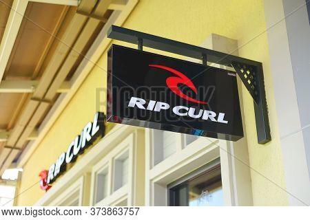 Samut Prakan, Thailand - June 13, 2020: Logo Of Rip Curl In Central Village, Samut Prakan, Thailand.