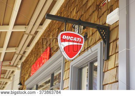 Samut Prakan, Thailand - June 13, 2020: Logo Of Ducati Motor In Central Village, Samut Prakan, Thail
