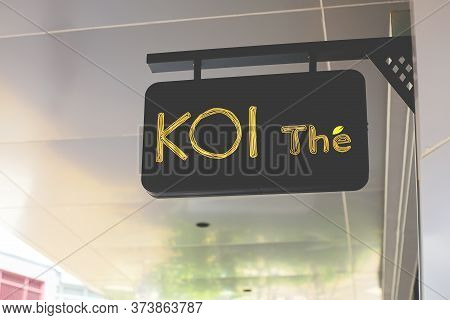 Samut Prakan, Thailand - June 13, 2020: Logo Of Koi The In Central Village, Samut Prakan, Thailand.