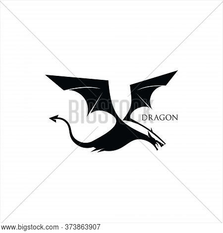 Dragon Logo Simple Vector Legend Animal Illustration Design Template Idea