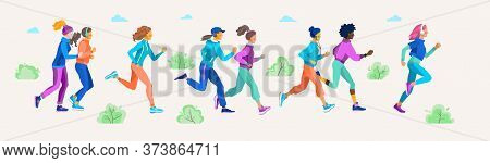 Fit Beautiful Girls On A Jogging In The Park Or Square. Vector Illustration Of Young Women Of Variou