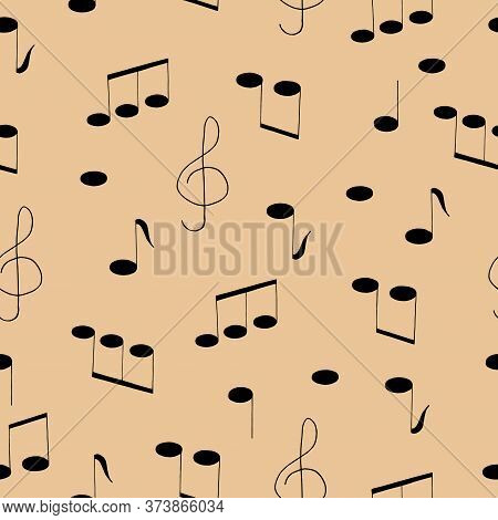 Music Notes And Treble Clef Hand Drawn Seamless Pattern In Doodle Style. Vector, Scandinavian, Monoc