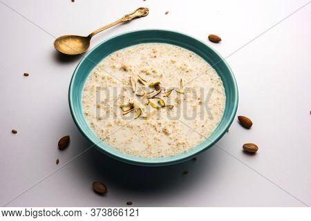 Daliya Kheer Or Dalia Payasam - Broken Or Cracked Wheat And Milk Porridge With Sugar Cooked In India