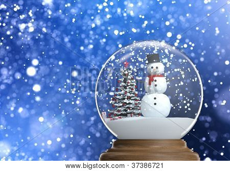 Snowglobe With Snowman Inside With Copy Space