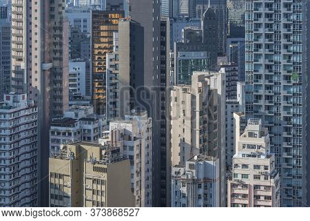 Exterior Of High Rise Building In Hong Kong City