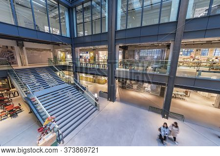Hong Kong, China - November 08, 2019 : The Interior View Of Shopping Mall The Mills. The Mills Is A