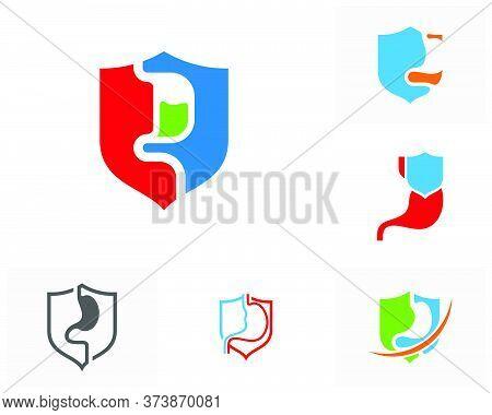 Set Of Shield Stomach Logo Vector Template, Creative Stomach Logo Design Concepts
