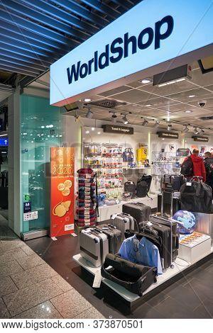 FRANKFURT AM MAIN, GERMANY - CIRCA JANUARY, 2020: goods on display at Lufthansa WorldShop in Frankfurt am Main Airport.