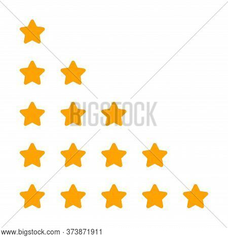 Rating 5 Stars Cute For Review Isolated On White, Five Stars For Ranking Award, Yellow Stars Of Choi