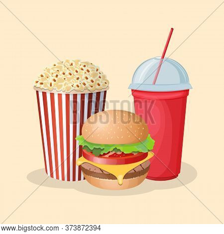Burger With Soda Cup And Popcorn - Cute Cartoon Colored Picture. Graphic Design Elements For Menu, P