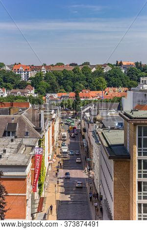 Flensburg, Germany - June 25, 2019: Street And Historic Buidings In Flensburg, Germany