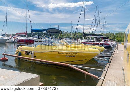 Mikolajki, Poland - June 1, 2020: Motorboats Rmf Fm On Mikolajskie Lake.