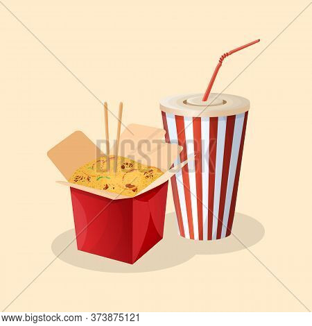 Box Of Wok Noodles And Soda In A Paper Cup - Cute Cartoon Colored Picture. Graphic Design Elements F