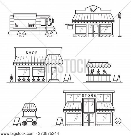 Set Of Store, Shop, Street Store Cart And Truck Icons. Vector Illustration. For Web Design And Appli