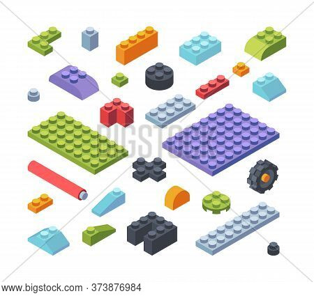 Constructor Kids Isometric Parts Large Set. Tiles And Blocks Multicolored Assembly Toy Models Strips