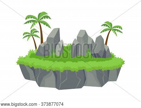 Green Island With Blocks Stones. Stone Ledges Palm Trees And Clover Lawn Platform Beautiful View Nat