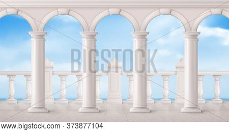 White Marble Balustrade, Arches And Columns On Balcony Or Terrace With Overlooking To Sea. Vector Re