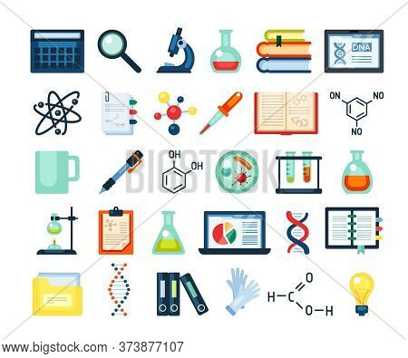 Scientific Research Inventory Set. Electron Microscope Dna Rna Molecular Formula Laptop Research Inf