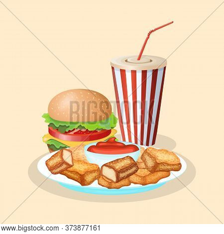 Hamburger With Soda Cup And Nuggets - Cute Cartoon Colored Picture. Graphic Design Elements For Menu
