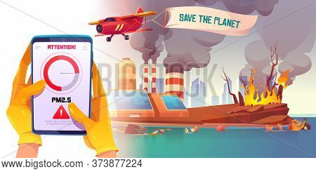 Pm2.5 Air Pollution Smartphone Application. Pm 2.5 Dust Detector. Vector Cartoon Illustration Of Han