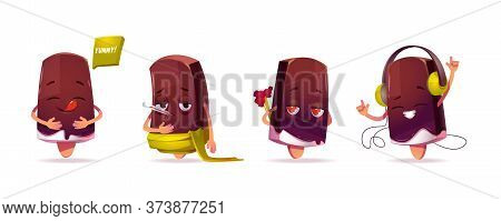 Popsicle Ice Cream Character, Funny Eskimo Pie With Kawaii Face Expressing Emotions Enjoy Meal Say Y