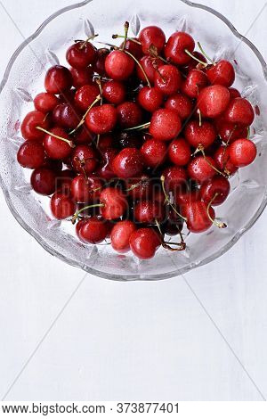 Fresh Juicy Red Cherries Isolated On White Background/ Red Fresh Cherries Sweet Cherry Berries At Wh