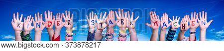 Children Hands Building Kinder Stark Machen Means Strengthen Children, Blue Sky