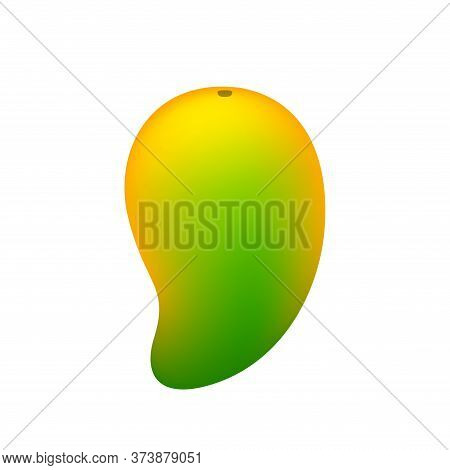 Mango Yellow Green Fruit Simple Isolated On White, Ripe Or Raw Mango Cartoon For Clip Art, Illustrat