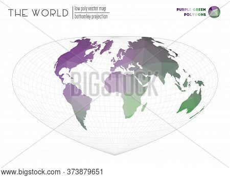 Polygonal Map Of The World. Bottomley Projection Of The World. Purple Green Colored Polygons. Stylis