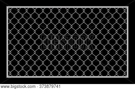 Metal Fence Wire Mesh Isolated On Black Background, Net Fence Silver Steel, Mesh Silver Object Illus