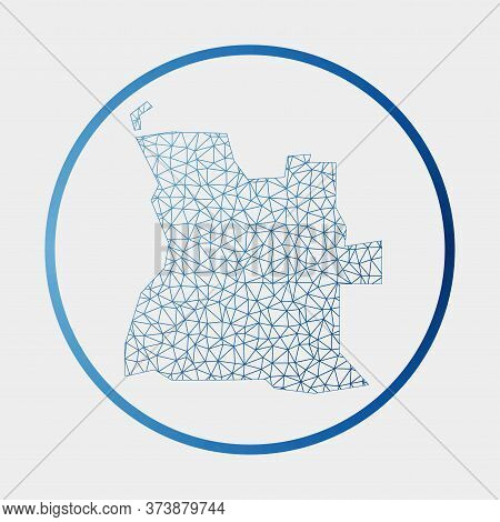 Angola Icon. Network Map Of The Country. Round Angola Sign With Gradient Ring. Technology, Internet,