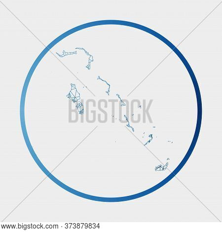 Bahamas Icon. Network Map Of The Country. Round Bahamas Sign With Gradient Ring. Technology, Interne