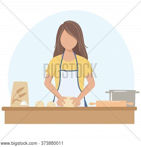 A Woman Rolls Out The Dough For A Pie. Vector Illustration In The Flat Design Style.