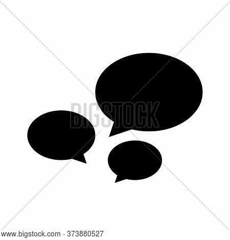 Speech Balloon Ellipse Isolated On White, Speech Bubble Sign Of Communication Symbol, Black And Whit