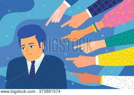 Sad Or Depressed Man Surrounded By Hands With Index Fingers Pointing At Her.