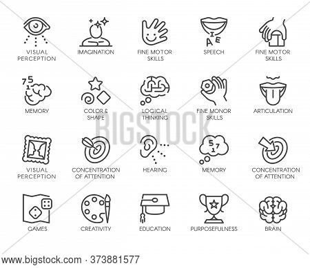 Premium Icons Pack On Human Cognitive Abilities And Preschool Development Of Children. Such Line Sig