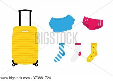 Set, Collection Of Colorful Cartoon Style Luggage Icons With Suitcase, Clothes, Panties, T-shirt, So