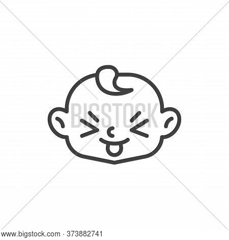 Squinting Face With Tongue Line Icon. Linear Style Sign For Mobile Concept And Web Design. Child Stu