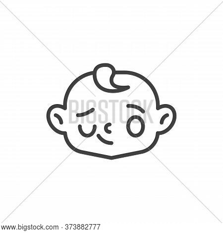 Winking Baby Face Line Icon. Linear Style Sign For Mobile Concept And Web Design. Smiling And Winkin