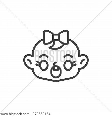 Astonished Baby Face Line Icon. Linear Style Sign For Mobile Concept And Web Design. Screaming Child