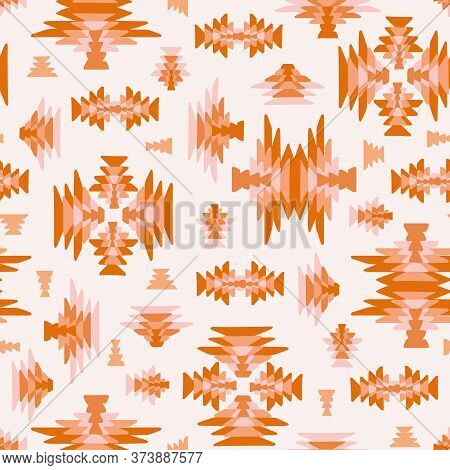Ethnic Geometric Kilim Woven Seamless Vector Background In Pink Orange Colors For Fabric, Wallpaper,