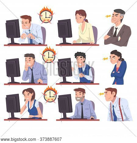 Business People Working Overtime At Deadline Set, Overloaded Office Workers Sitting At Workplace In