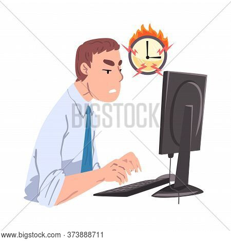 Businessman Working Overtime At Deadline, Overloaded Office Worker Sitting At Workplace Vector Illus