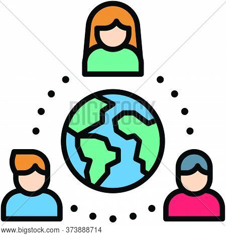 Global Network, Telecommuting Or  Remote Work Related Icon
