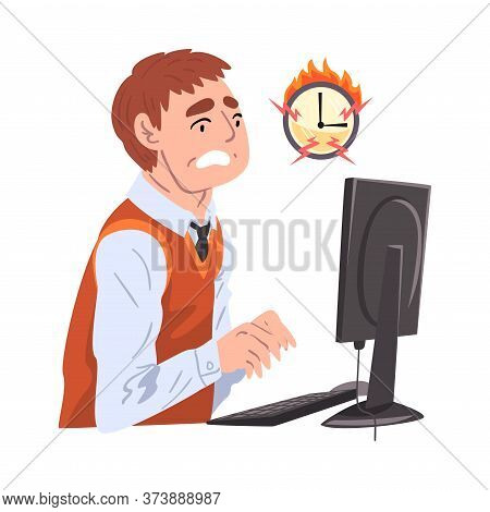 Stressed Businessman Working Overtime At Deadline, Overloaded Male Office Worker Sitting At Workplac