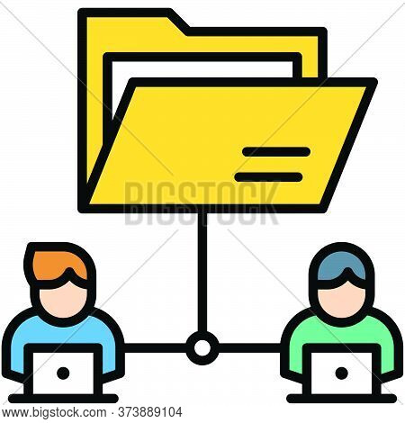 File Sharing, Telecommuting Or Remote Work Related Icon, Vector Illustration