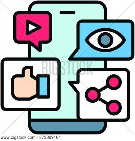 Mobile Application, Telecommuting Or Remote Work Related Icon, Vector Illustration