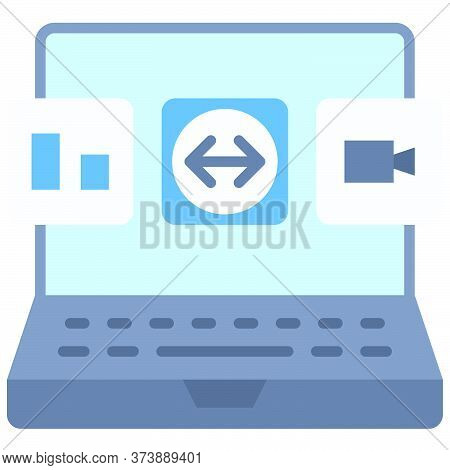 Application On Laptop, Telecommuting Or  Remote Work Related Icon