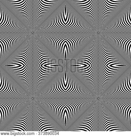 Seamless Checked Op Art Lines Pattern. 3d Texture. Vector Illustration.