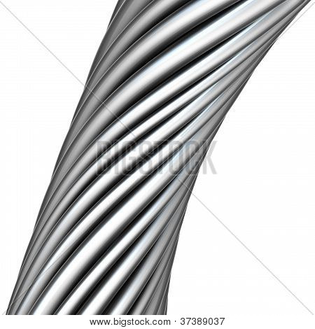 3D Glossy Twisted Cable In Chrome Silver On White
